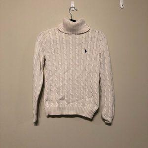 White Ralph Lauren Cable-knit Turtle Neck